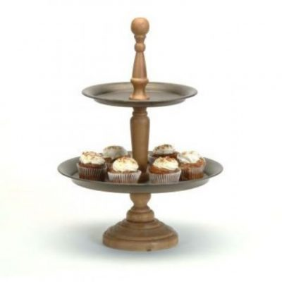 2-Tier Metal and Wood Stand
