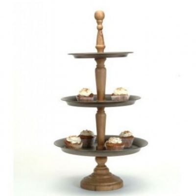 3-Tier Metal and Wood Stand