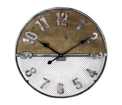Half Wood Half Wire Mesh Clock