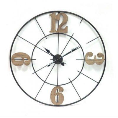 Black Metal Clock with Wood Numbers