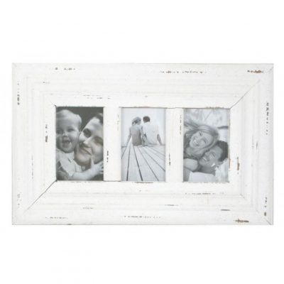 distressed white 3 photo frame