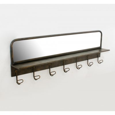 hanging wall shelf mirror with 7 hooks