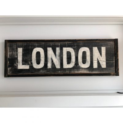 london wood sign