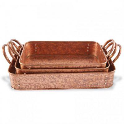nested copper casserole set