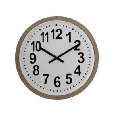 round metal wood frame clock