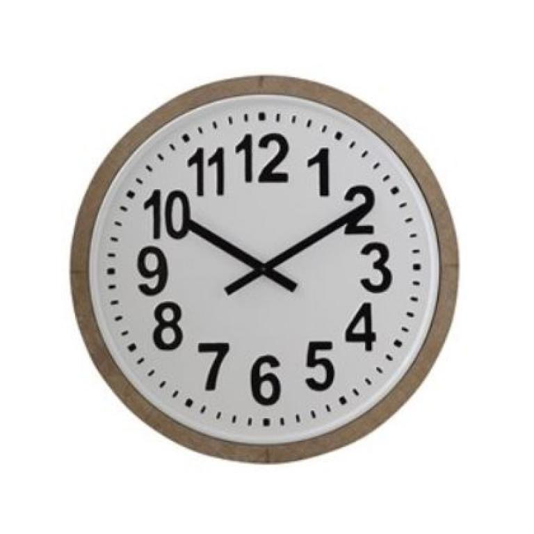 round metal wood frame clock