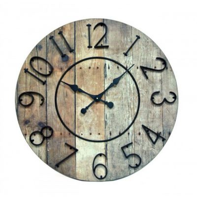 round wood iron wall clock