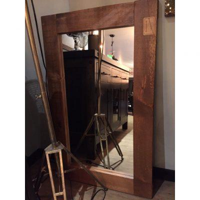 rustic wood frame mirror