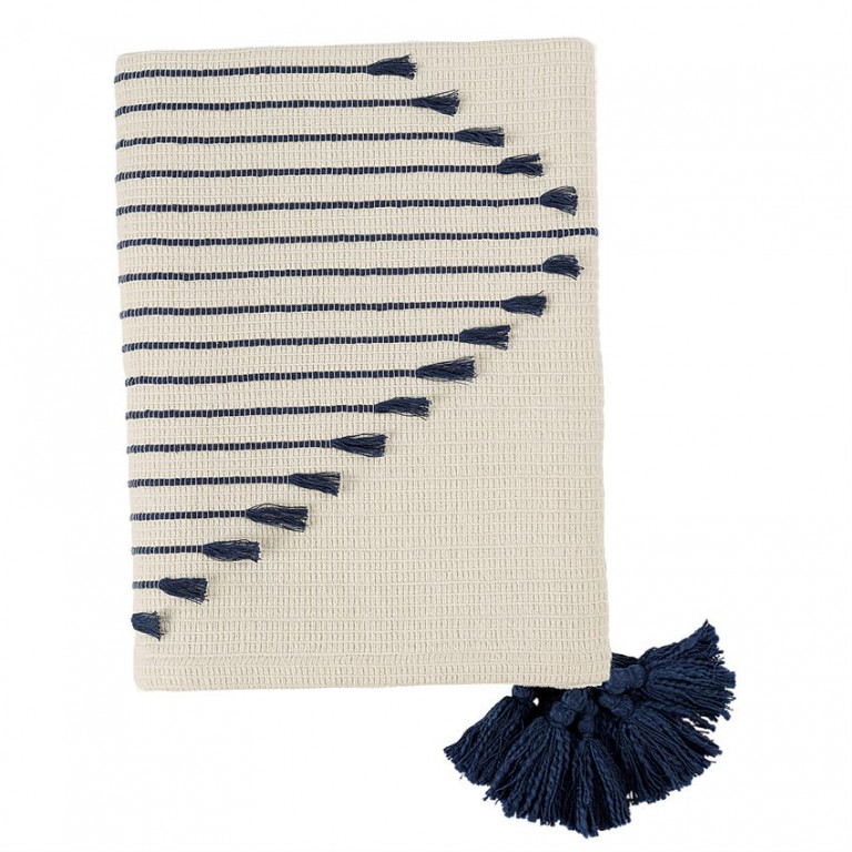 woven tassel navy throw