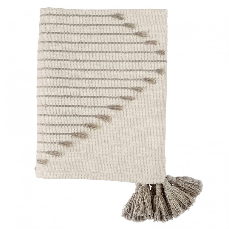woven tassel tan throw