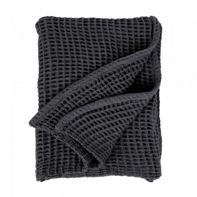 waffle woven throw charcoal