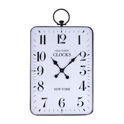 white rectangle iron clock