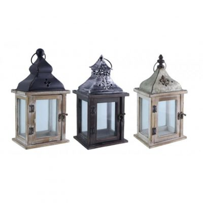 wood and metal lanterns