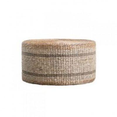 natural woven pouf