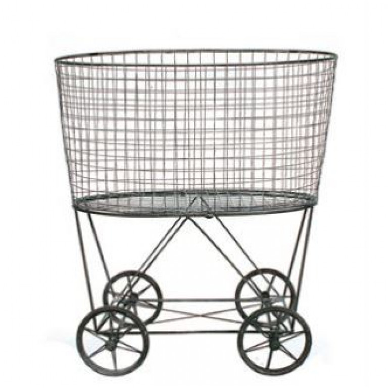 vintage laundry basket on wheels